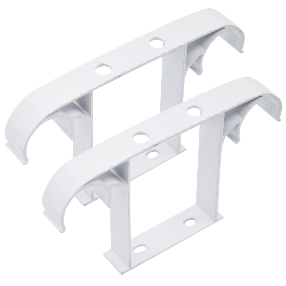Ceiling mounted curtain rod brackets - 2 Pcs Curtain Rod Drapery Pole Ceiling Mounted Double Aluminum Alloy Bracket Curtain Rods Accessories Tringle
