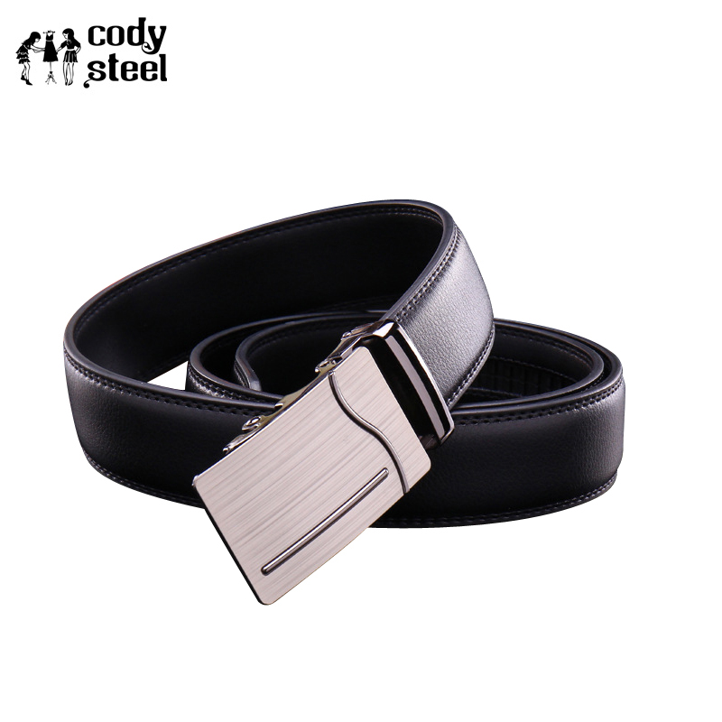 Cody Steel Designer Leather Men Belts PU Leather Automatic Buckle Business Belts For Man Fashion Popular Brand Male Black Belts