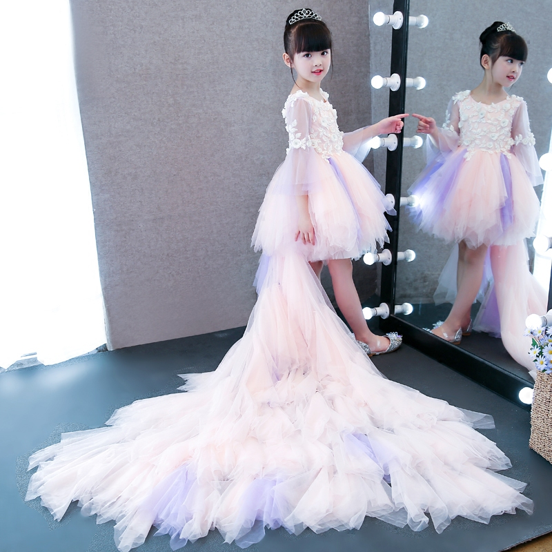 Hot-Sales Children Girls Elegant Ball Gown Long Trailing Princess Lace Dress Baby Girls Birthday Wedding Pageant Modern Dress цена