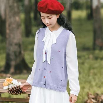 Japan Style Mori Girl Women Cute Sweater V Neck White Purple All-Match Knitted Sleeveless Cardigan Elegant Kawaii Ladies Vests girl