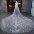 2017 New Fashion Luxury 3 Meters Floral Lace One Layers Wedding Accessories Long Wedding Veil with Comb White Ivory Bridal Veils