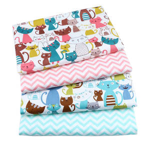 Syunss Cotton-Fabric Dress Bedding Patchwork Blue Baby The Cloth Tissus Printed Cat Wave