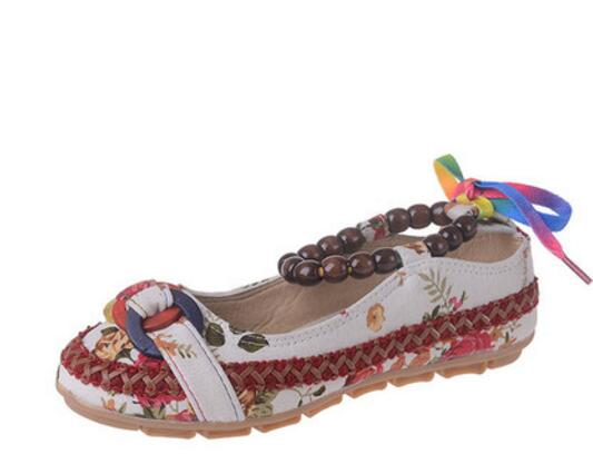 Plus size42 Casual Flat Shoes Women Flats Beaded Ankle Straps Loafers Zapatos Mujer Retro Ethnic Embroidered Shoes