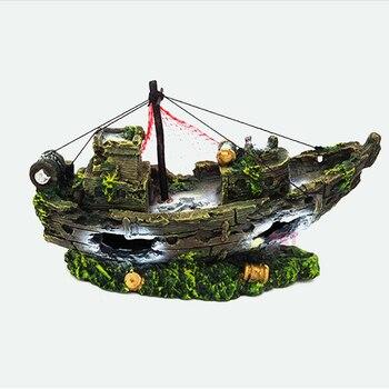 Aquarium décor réservoir de poisson résine naufrage décoration Pirate trésor navire filet de pêche ornement accessoires Statue pour poissons cacher