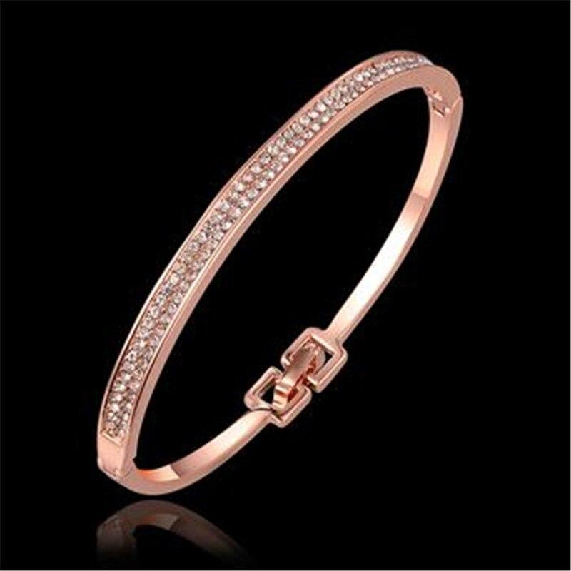 Браслет Дизайн для Для женщин Мода Сейф Пряжка Стиль изделия из розового золота Цвет ювелирные изделия Золотой Чешский drill20
