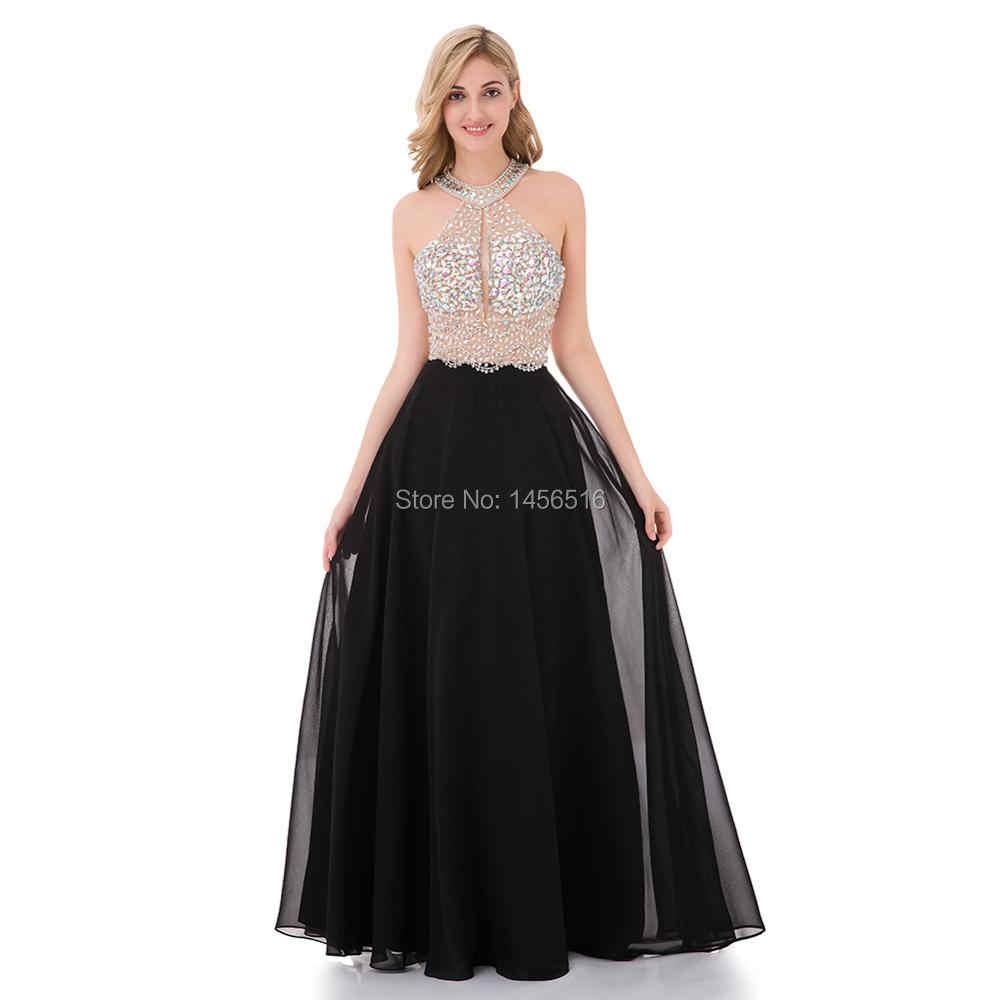 11W Sexy A-Line Schwarz Prom Kleid 11 Lange Halter Perlen Backless  vestidos de fiesta Formale Abendkleid Partei Pageant kleider