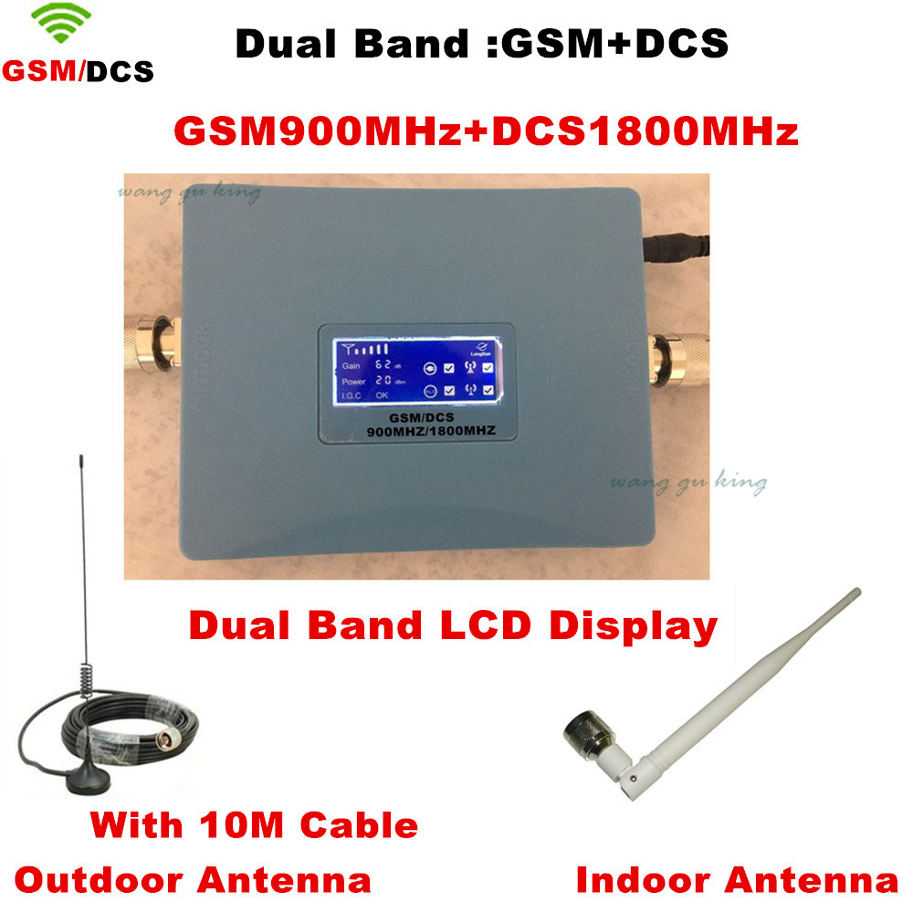 1 Sets LCD Display !! Dual Band GSM 900MHZ + DCS 1800mhz Signal Booster DCS Amplifier GSM Repeater +indoor Outdoor Antenna
