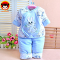 Spring and autumn newborn baby clothes set cotton padded newborn baby clothing rabbit thickening infant clothing set DZ17