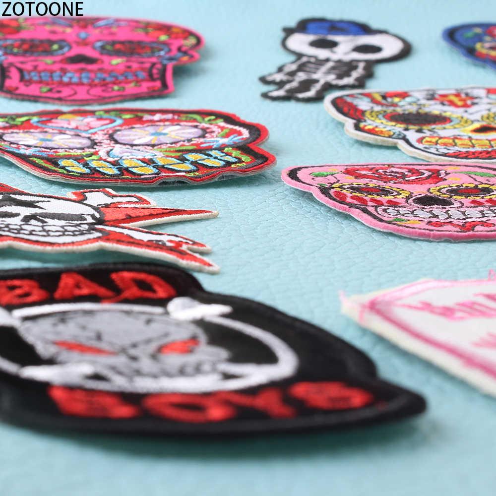 ZOTOONE Wilden Schädel Punk Patches auf Kleidung Bestickt Patch Anwendungen für Kleidung Streifen Abzeichen Garment Applique auf Kleidung