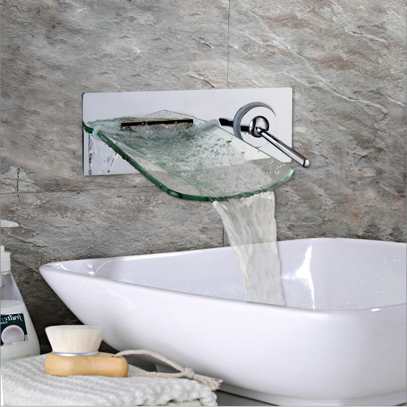 Wall Mounted Waterfall Spout Chrome Brass Bathroom Faucet Single Handle Hot And Cold Mixer Tap contemporary chrome bathroom sink tub faucet single handle waterfall spout mixer tap wall mounted