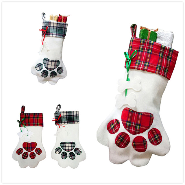 20pcs red blue dog cat paw pet plaid christmas stocking natal decor animal x mas