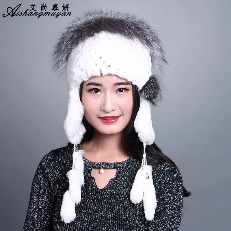 Fasion Women's Fur Cap 2017 New Knitted Hat Female Winter Women Real Rabbit Fur Hat knitting Fur Pompom Top Winter Beanies the new children s cubs hat qiu dong with cartoon animals knitting wool cap and pile