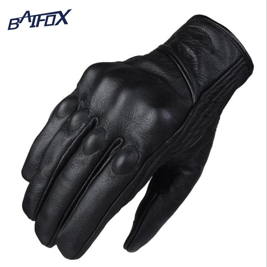 Motorcycle gloves all season - Motorcycle Gloves Goatskin Leather Real Genuine Cycling All Season Moto Glove Men Racing Motorbike Guantes Luvas