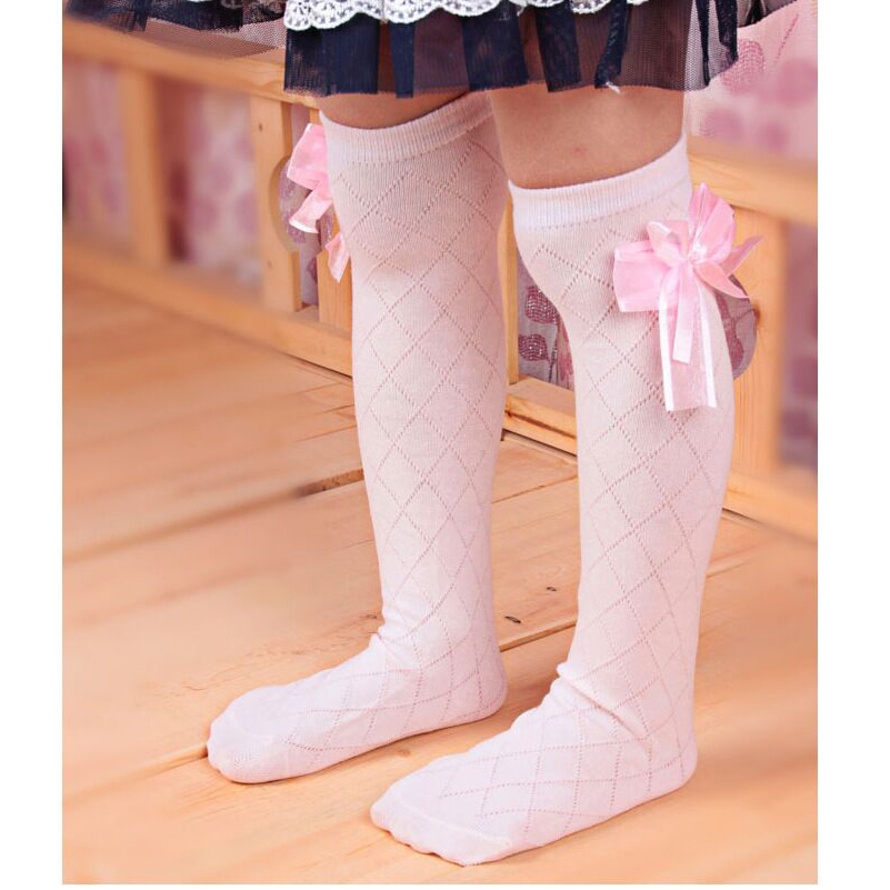 Toddler Kids Girls Cotton Bowknot Socks Solid Color Knee HIgh Socks Frilly Princess Party Stocking Leg Warmer Socks