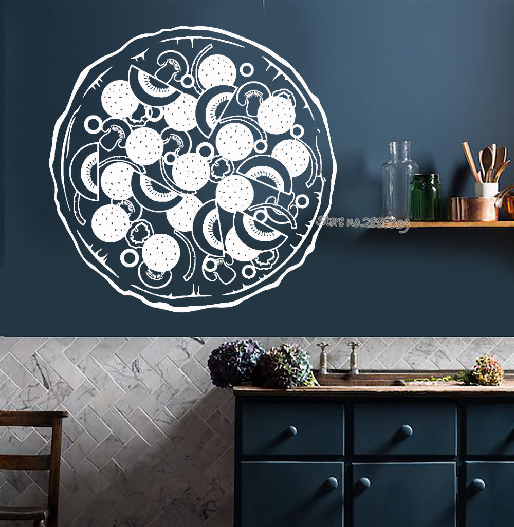 Italia Food Pizza Wall Decal Vinyl Kitchen Restaurant Art Wall Sticker Dining Room Home Decor Wallpaper High Quality Mural LA515