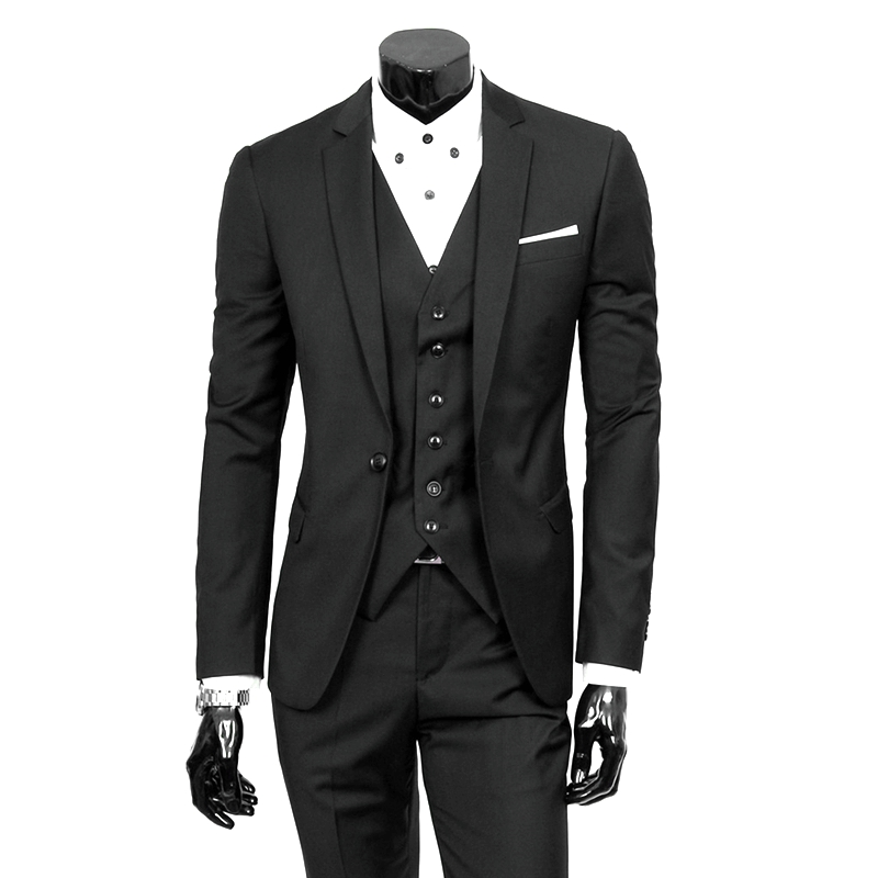 Men Suit Work-Wear-Suits Smoking-Tuxedo Linen Slim-Fit Wedding Party Black Fashion Casual