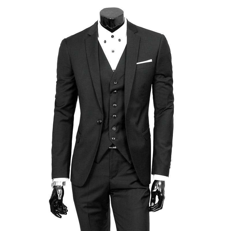 Men Suit Work-Wear-Suits Smoking-Tuxedo Linen Slim-Fit Wedding Party Black Casual Fashion