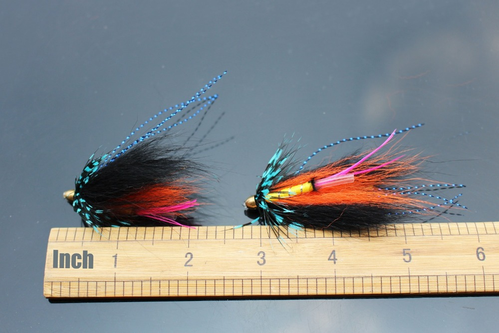 24 pcs Orange Feather Tube Flies Salmon And Sea Trout Fly Fishing Lures