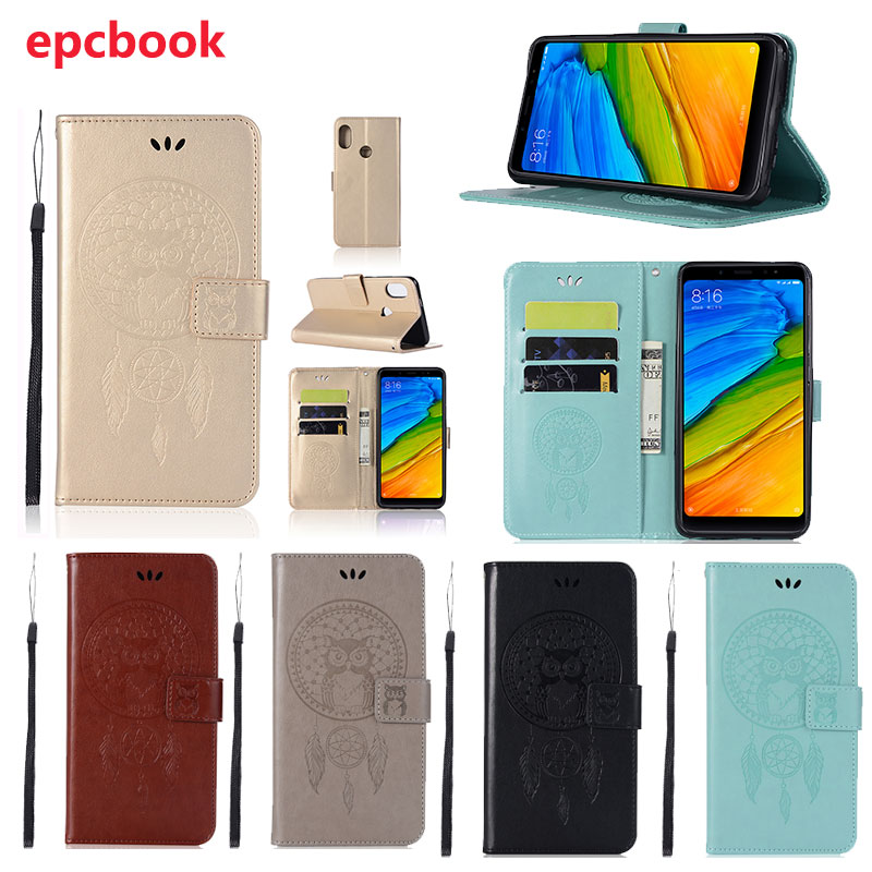 epcbook PU Leather Fashion Wallet Case For Xiaomi Redmi Note5 Pro Case Cover Embossed owl Luxury Flip Phone Cover Anti-knock