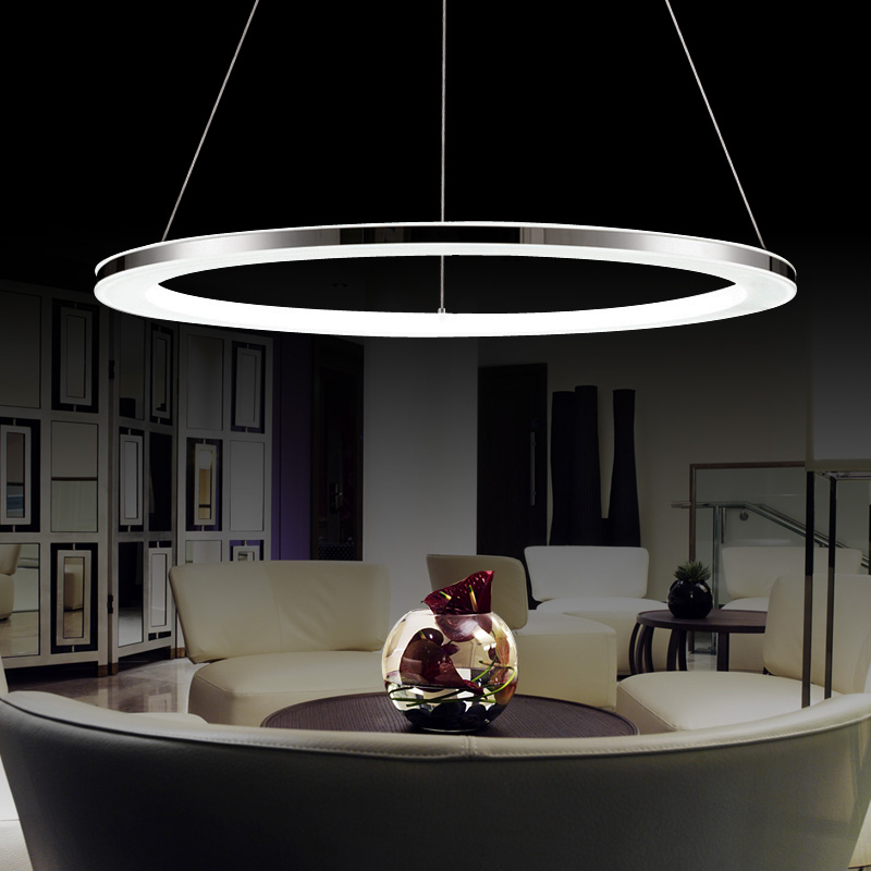 3 ring acrylic Chandelier Modern round pendant lamp 90-260V 30/50/70/90CM The dimming control Simple personality pendant lamps.