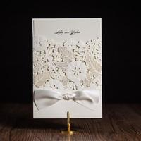 Free Shipping 50pcs Pack White Laser Cut Wedding Invitations Wishmade Convite Casamento Event Party Supplies