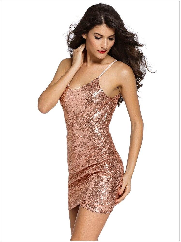 c0e2b2a63ccd Khaleesi 2017 Backless Partito Delle Donne Abito Corto Aderente Sexy Oro  Rosa Vestito di paillette Profondo Scollo A V Club Dress Vestido De Festa  Curto in ...