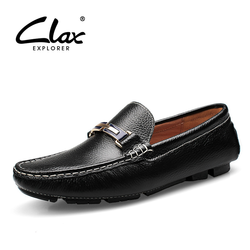CLAX Men Leather Shoes Genuine Leather Spring Autumn Men's Loafer Shoe Casual Footwear Black White Boat Shoe Soft Big Size 2016 new men breathable casual shoes autumn spring men white black blue pu leather shoes men shoes