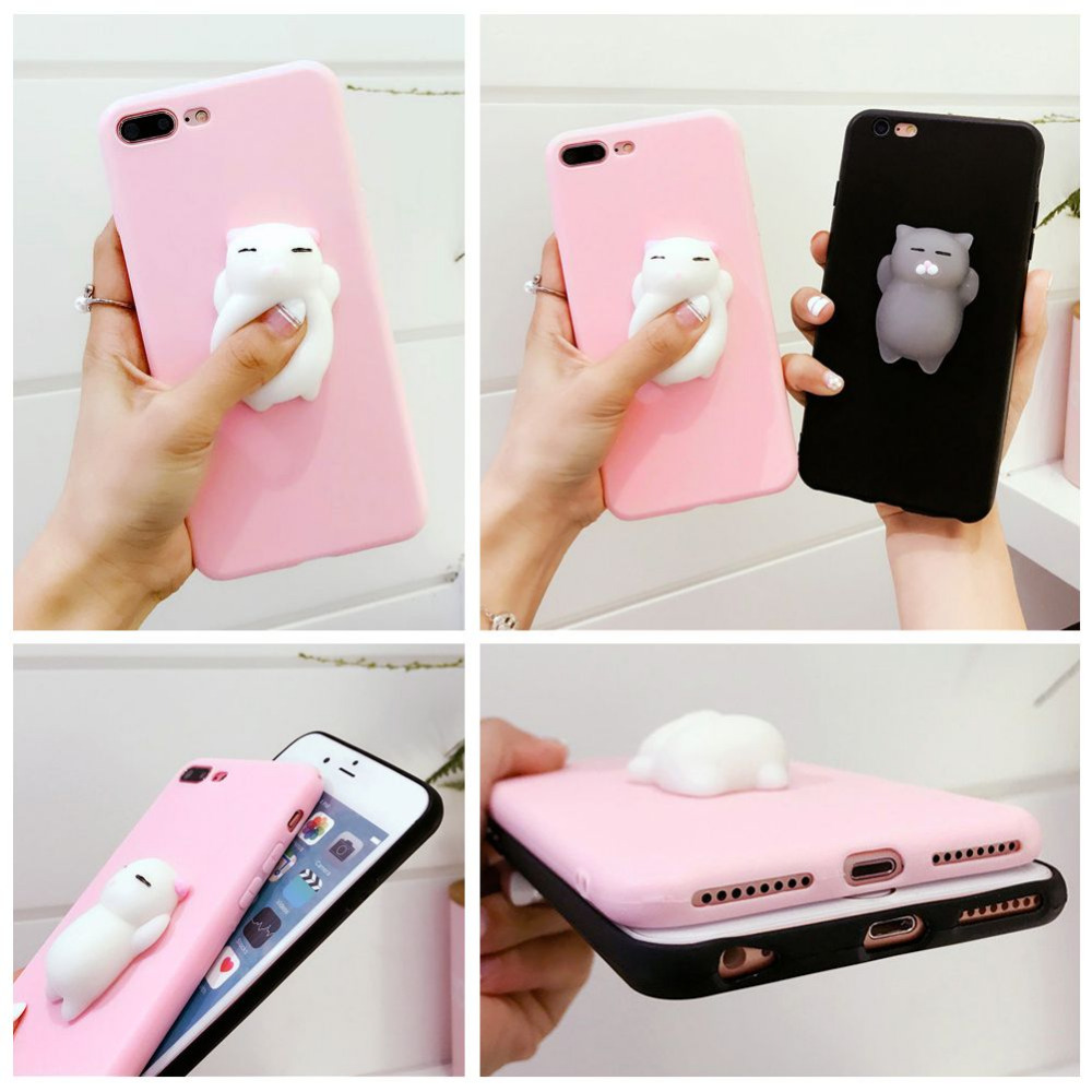Iphone 6 squishy case - For Iphone 6 6s Plus 7 7 Plus Squishy Case Soft Silicone Tpu 3d Cartoon Cat