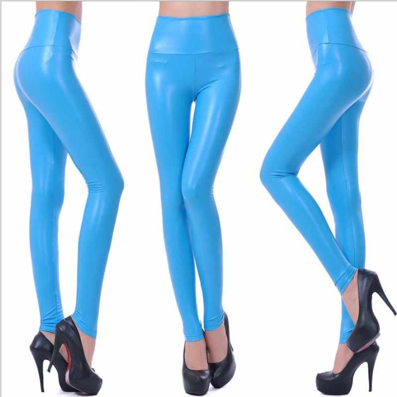 A Forma das mulheres Preto PU Calças Leggings de Couro Para Mulheres Plus Size Outono Primavera Sexy Estiramento Skinny Slim Calças Legging F80