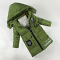 2016 Nuevos grandes vírgenes parte larga gruesa chaqueta acolchada Niños invierno de la capa Con Capucha casual keep warm outwear Al Por Mayor