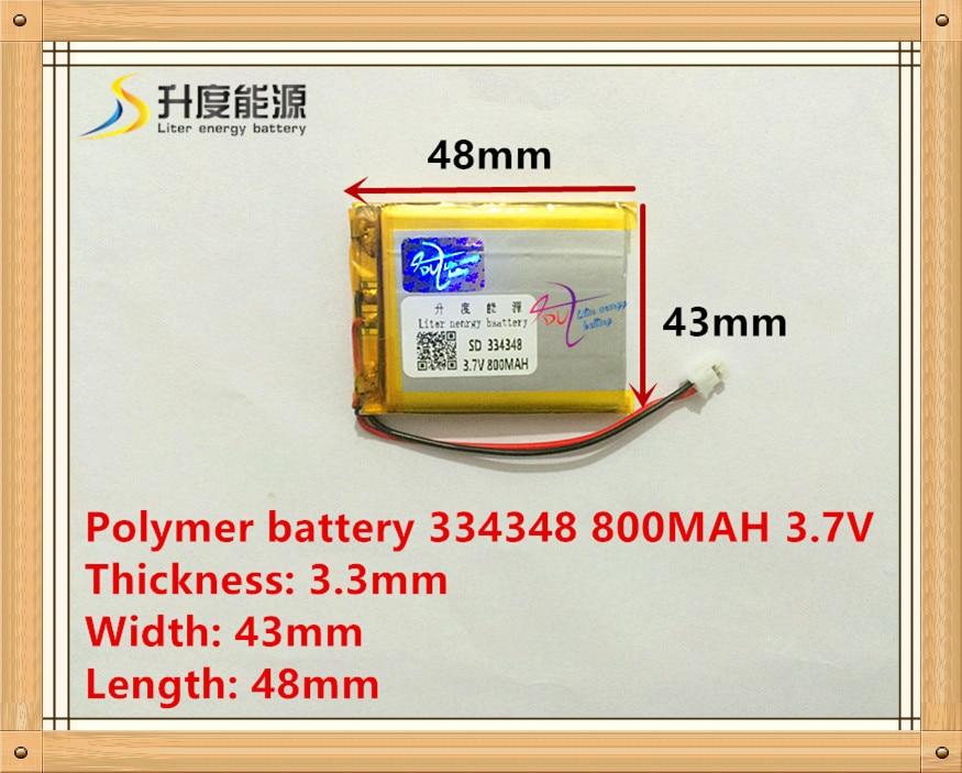 XHR-2P 2.5 pistik 3.7V liitiumpolümeer aku 334348 800mAh GPS - Tahvelarvutite tarvikud - Foto 1