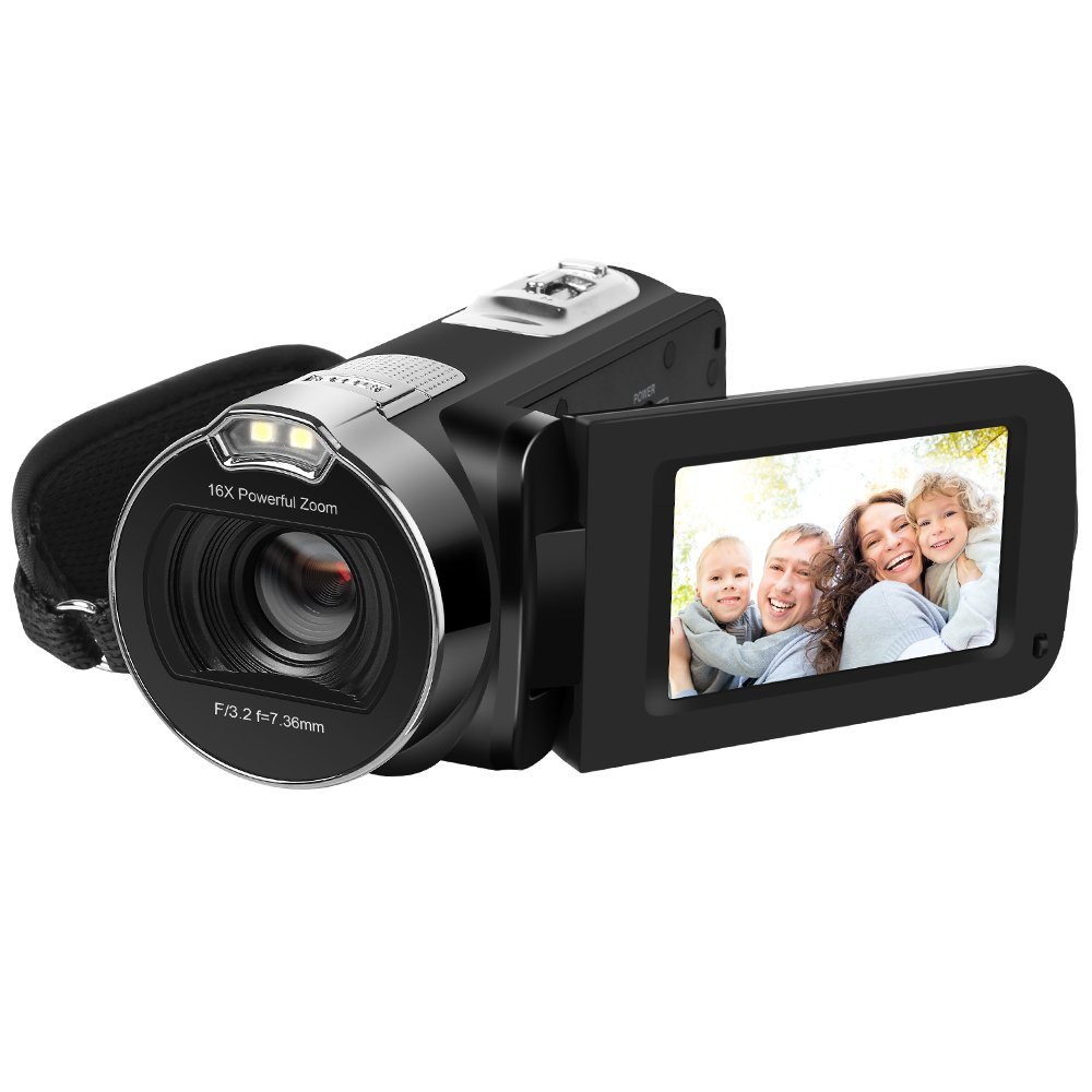 HDV 312P HD Camera Camcorders 1080P 24MP 16X Digital Zoom Video Camcorder 2.7 LCD 270 Degree Rotation Screen US Plug with CD