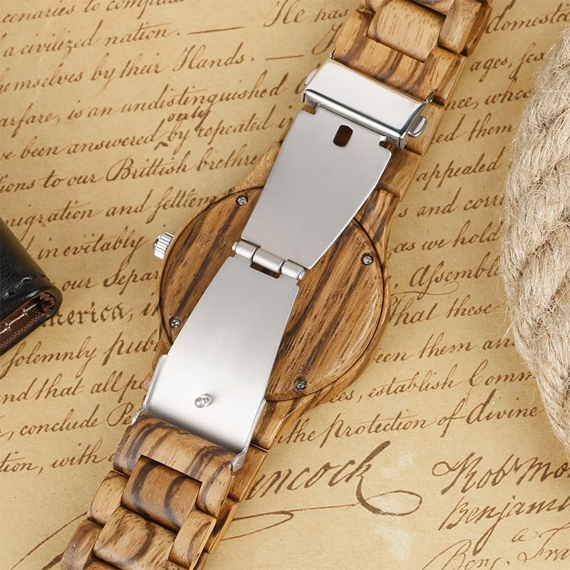 Kūrybinis medinis laikrodis vyrams bambuko kvarco minimalistinis - Vyriški laikrodžiai - Nuotrauka 6