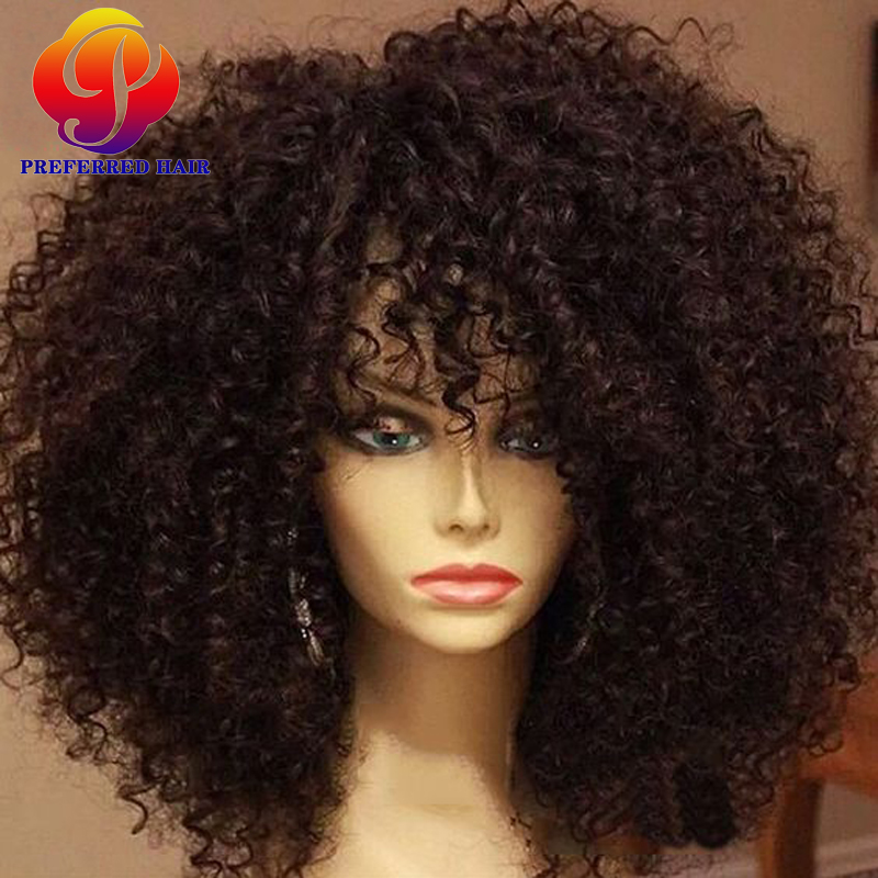 Virgin Afro Kinky Curly Full Lace Human Hair Wigs For Black Women Short Full Lace Front Wig Kinky Curly Brazilian Full Lace Wigs