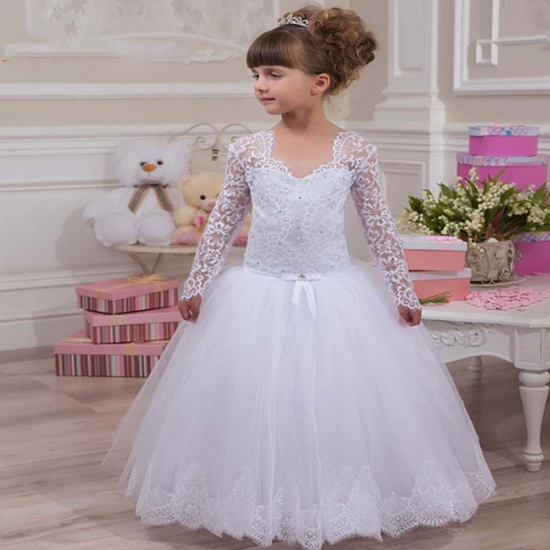 White Tulle Flower Girl Dress Lace Applique Long Sleeve Holy First Communion Dress For Cute Girls Fluffy Gowns