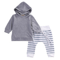 2pcs 2016 New Autumn Baby Girl Boys Clothes Set Newborn Baby Boy Girl Warm Hooded Coat