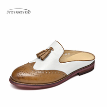 Genuine Leather flat Sandals shoes yinzo women US size 8 handmade brown red grey vintage round Toe British style 2019