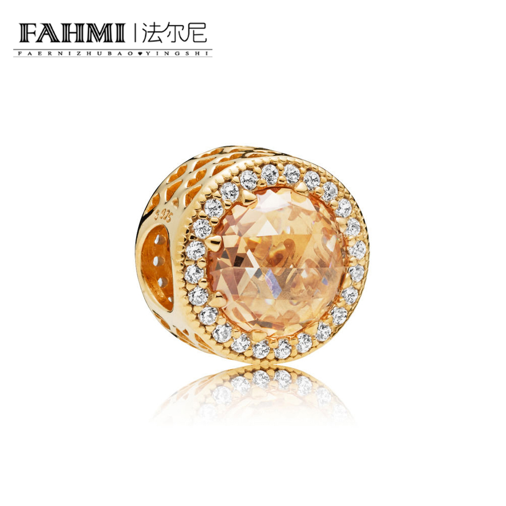 FAHMI 100% 925 Sterling Silver 1:1 New 761725CLG SHINE GOLDEN RADIANT HEARTS CHARM   Beaded Original Jewelry Womens GiftFAHMI 100% 925 Sterling Silver 1:1 New 761725CLG SHINE GOLDEN RADIANT HEARTS CHARM   Beaded Original Jewelry Womens Gift
