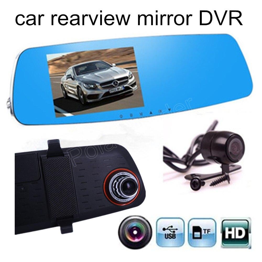 Rear-View-Mirror-Driving-Recorder-Inch Rear-View-Camera Parking Video-Car Dual-Lens 1080p