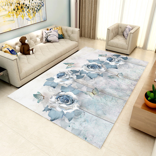 Pastoral Printed Carpet Livingroom Home Decor Rug Sofa Coffee Table Floor  Mat Soft Carpet Bedroom Study Room Rugs Kids Crawl Mat