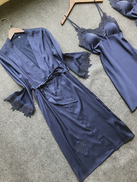Sexy Women's Robe & Gown Sets Lace Bathrobe + Night Dress 4 Four Pieces Sleepwear Womens Sleep Set Faux Silk Robe Femme Lingerie 4