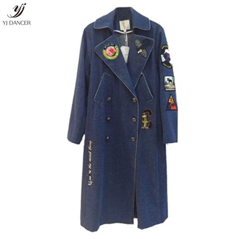 Denim Giacca Nuovo Hjb435 Ricamo Donne Autunno Vento Maniche Lunghe In Blue Cappotto 2018 E A Delle Cowboy Primavera Sciolti FvqwZdxZ