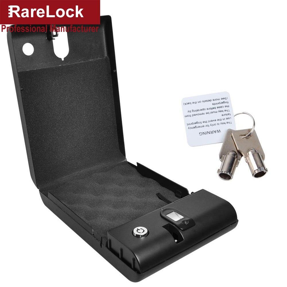 Rarelock Biometric Safe Box Solid Steel Key Gun Vault Valuables Box Cable Portable Bio-box Fingerprint Lock d