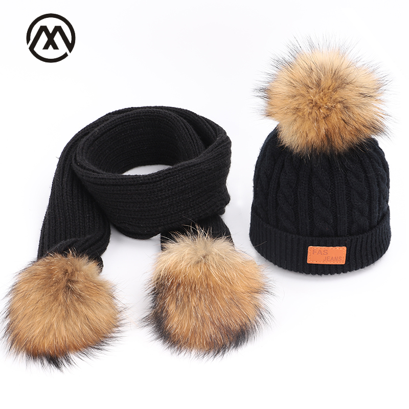 Winter Girls Knit Cotton Caps Beanie Warm Boys Kids Universal Solid Color Hats Pompon Children Skullies Scarf, Hat & Glove Sets