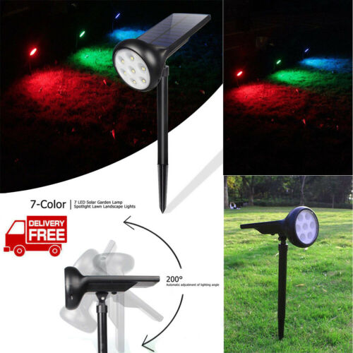 Solar Outdoor Garden Lights 7 LED Flood Yard Lawn Wall Lamp Spotlight Waterproof