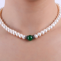 JYX 8.0 9.0 Pearl Necklace 100% Real Natural Freshwater Cultured Necklace With Natural Jade Necklace Choker Necklace 16.0 inches