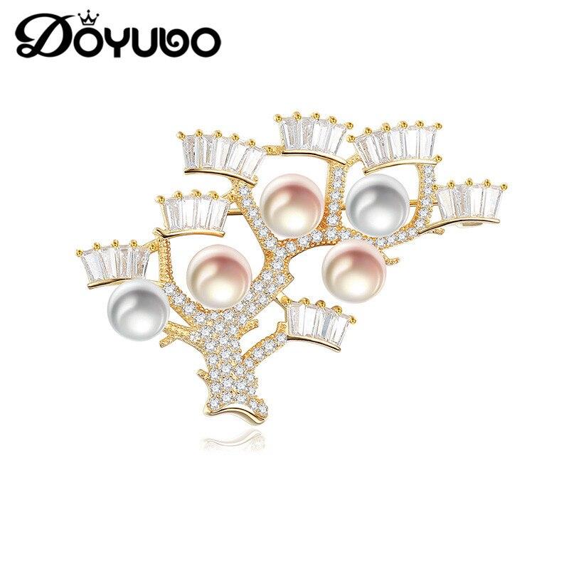 DOYUBO Brand Luxury Silver Brooch Jewelry 925 Sterling Silver CZ Crotch Freshwater Peal Brooch Jewelry Wedding Accessories VH006