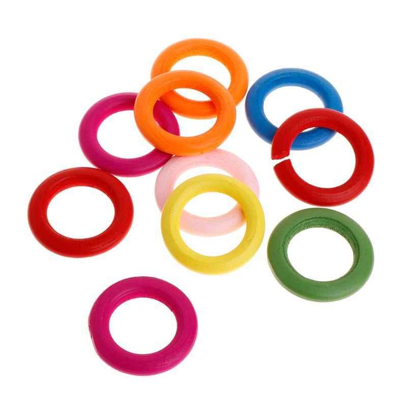 10 шт./партия деревянное кольцо, игрушки для попугая, Жевательная игра, натуральное красочное украшение из колец, игрушечный попугай, аксессуары для самостоятельной сборки