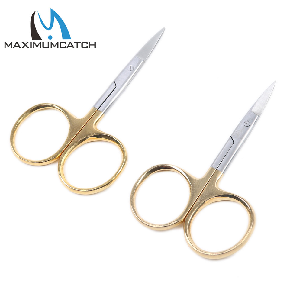 Maximumcatch 2pcs / lot New Fly Fishing Tying Scissors AH018 Rustfritt Stål Fiske Saks Fishing Tackle Box