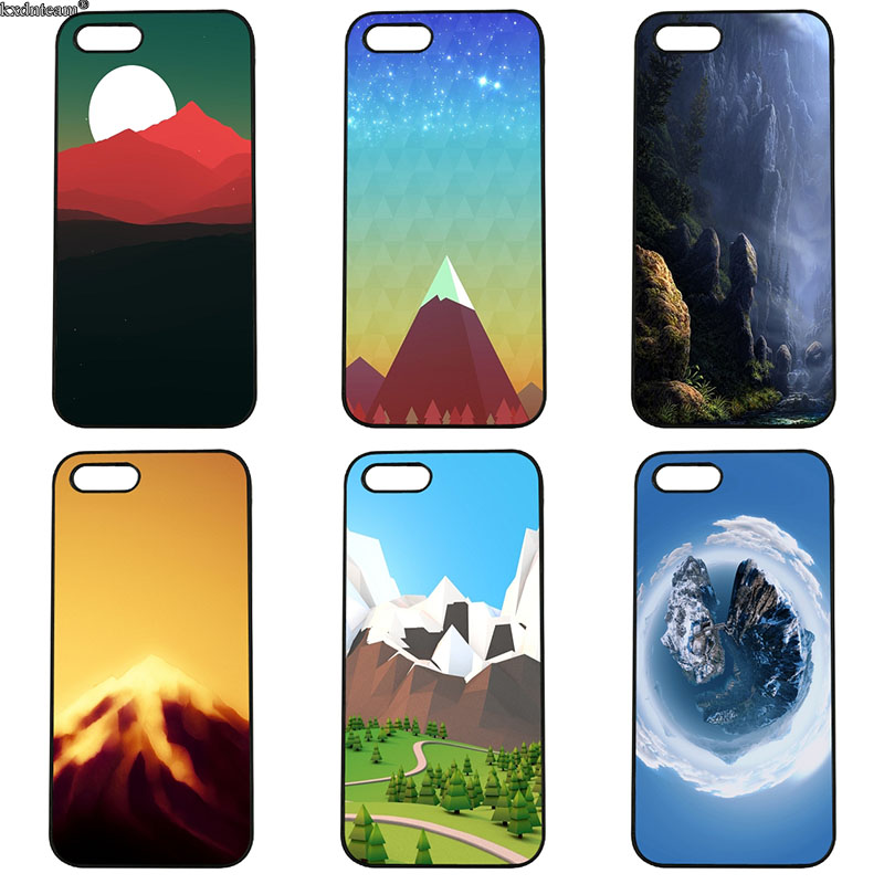 Beautiful Mountains Minimal Cell Phone Case Hard Plastic Cover for iphone 8 7 6 6S Plus X 5S 5C 5 SE 4 4S iPod Touch 4 5 6 Shell